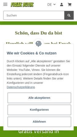 Vorschau der mobilen Webseite www.freakbutik.de, Freak butik