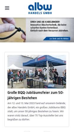 Vorschau der mobilen Webseite www.albw.de, Albw Handels GmbH