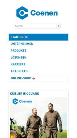 Vorschau der mobilen Webseite www.coenen.de, Coenen Neuss GmbH & Co KG
