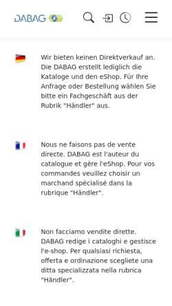 Vorschau der mobilen Webseite www.dabag.ch, DABAG Datenbank Genossenschaft