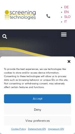 Vorschau der mobilen Webseite www.siebtechnik.at, Dipl. Ing. Walter Poldlehner - Technischer Industriebedarf