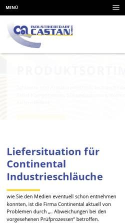 Vorschau der mobilen Webseite www.industriebedarf-castan.com, Industriebedarf Castan GmbH