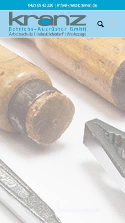 Vorschau der mobilen Webseite kranz-bremen.de, Kranz GmbH