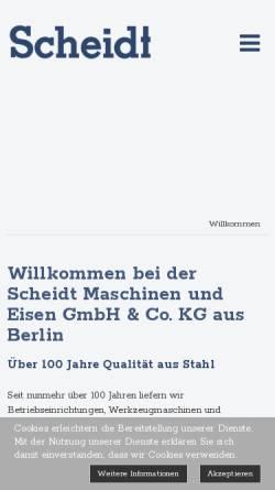 Vorschau der mobilen Webseite www.scheidt-berlin.de, Scheidt Maschinen- und Eisen KG