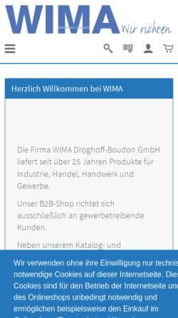 Vorschau der mobilen Webseite www.wima-shop.de, WIMA Dröghoff-Boudon GmbH