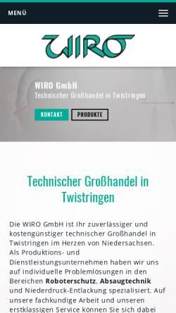 Vorschau der mobilen Webseite www.wirotech.de, Wiro GmbH - Technischer Grosshandel