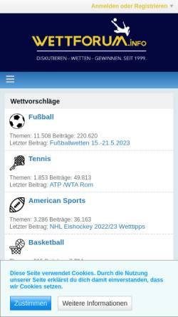 Vorschau der mobilen Webseite www.wettforum.info, Wettforum.info