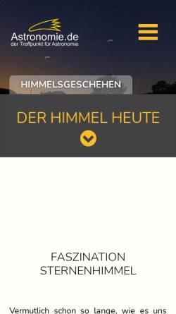 Vorschau der mobilen Webseite www.astronomie.de, Astronomie.de