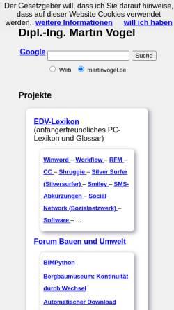 Vorschau der mobilen Webseite www.martinvogel.de, Vogel, Martin
