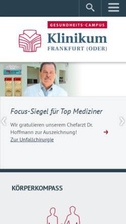Vorschau der mobilen Webseite klinikumffo.de, Klinikum Frankfurt (Oder)