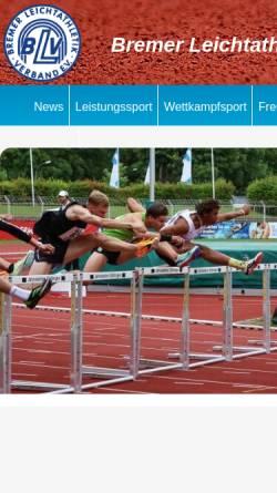 Vorschau der mobilen Webseite www.leichtathletik-in-bremen.de, Bremer Leichtathletik-Verband