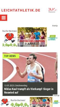 Vorschau der mobilen Webseite www.leichtathletik.de, Deutscher Leichtathletik-Verband