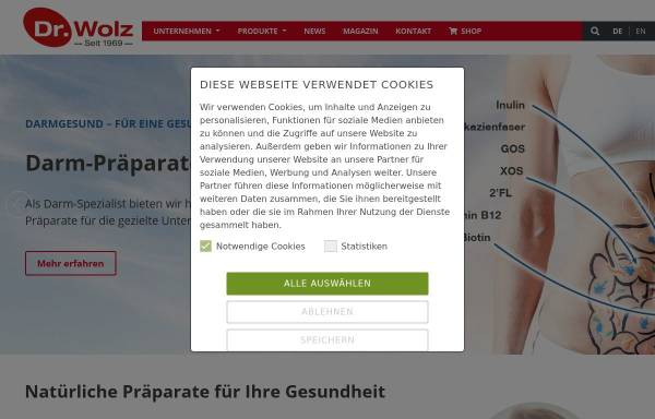 Vorschau von www.wolz.de, Dr. Wolz Zell GmbH