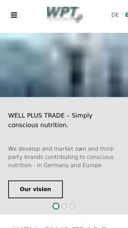 Vorschau der mobilen Webseite www.wellplustrade.com, Well Plus Trade GmbH