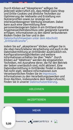 Vorschau der mobilen Webseite www.moebel-glanz.de, Einrichtungshaus Möbel Glanz