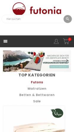 Vorschau der mobilen Webseite www.futonia.de, Futonia Naturmöbelhaus