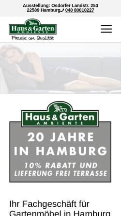 Vorschau der mobilen Webseite www.gartenmoebel-hamburg.de, Haus und Garten Ambiente