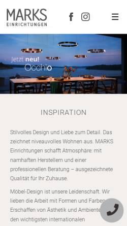 Vorschau der mobilen Webseite www.marks-einrichtungen.de, Marks Einrichtungen