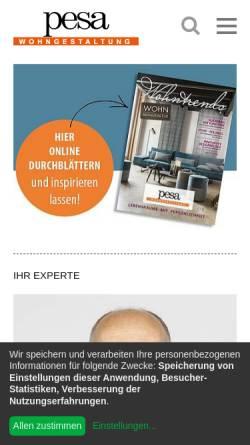 Vorschau der mobilen Webseite www.pesa-wohngestaltung.de, Pesa Wohngestaltung