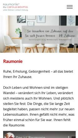 Vorschau der mobilen Webseite www.raumonie.de, Raumonie, Raumvisionen in Form und Farbe