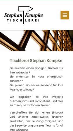 Vorschau der mobilen Webseite www.tischlerei-kempke.de, Stephan Kempke Tischlerei