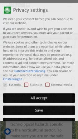 Vorschau der mobilen Webseite www.gevau.de, Gartenbau-Versicherung VVaG