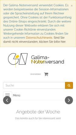 Vorschau der mobilen Webseite galima.de, Galima-Notenversand und -Verlag, Inhaber Matthias Wagenschein