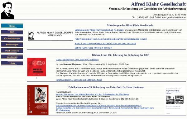 Vorschau von www.klahrgesellschaft.at, Alfred Klahr Gesellschaft