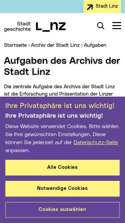 Vorschau der mobilen Webseite www.linz.at, Archiv der Stadt Linz - Bilder des Nationalsozialismus
