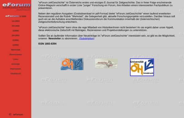 Vorschau von www.eforum-zeitgeschichte.at, eforum Zeitgeschichte