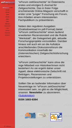 Vorschau der mobilen Webseite www.eforum-zeitgeschichte.at, eforum Zeitgeschichte