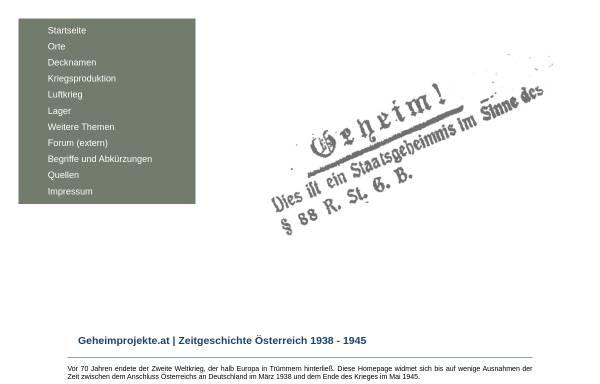 Vorschau von www.geheimprojekte.at, Geheimprojekte.at