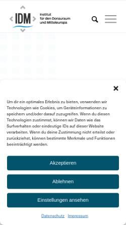 Vorschau der mobilen Webseite www.idm.at, Institut für den Donauraum und Mitteleuropa