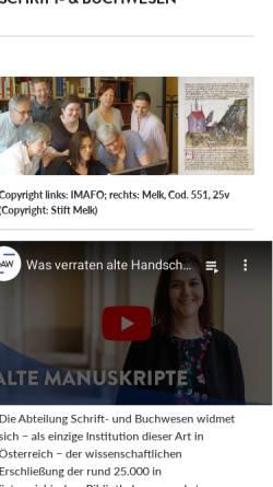 Vorschau der mobilen Webseite www.ksbm.oeaw.ac.at, Kommission für Schrift- und Buchwesen des Mittelalters