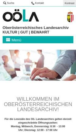 Vorschau der mobilen Webseite www.landesarchiv-ooe.at, Oberösterreichisches Landesarchiv