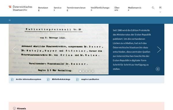 Vorschau von www.oesta.gv.at, Österreichisches Staatsarchiv