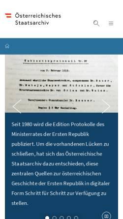 Vorschau der mobilen Webseite www.oesta.gv.at, Österreichisches Staatsarchiv