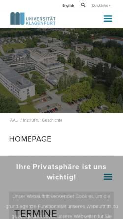 Vorschau der mobilen Webseite www.uni-klu.ac.at, Universität Klagenfurt/Institut für Geschichte