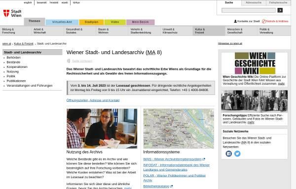 Vorschau von www.wien.gv.at, Wiener Stadt- und Landesarchiv