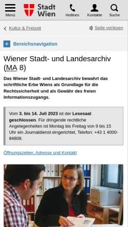 Vorschau der mobilen Webseite www.wien.gv.at, Wiener Stadt- und Landesarchiv