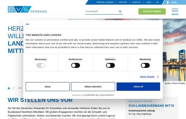 Vorschau von www.dvs-ev.de, Deutscher Verband für Schweißen und verwandte Verfahren e.V. (DVS), Landesverband Westfalen