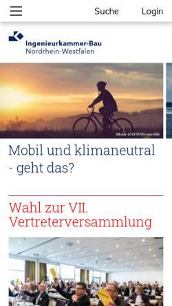 Vorschau der mobilen Webseite www.ikbaunrw.de, Ingenieurkammer-Bau Nordrhein-Westfalen