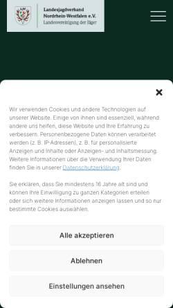 Vorschau der mobilen Webseite www.ljv-nrw.de, Landesjagdverband Nordrhein-Westfalen