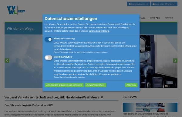 Vorschau von www.vvwl-transport.de, Verband Verkehrswirtschaft und Logistik Nordrhein-Westfalen e.V. (VVWL)