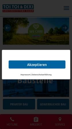 Vorschau der mobilen Webseite www.toitoidixi.de, Dixi by ADCO Umweltdienste GmbH & Co. KG