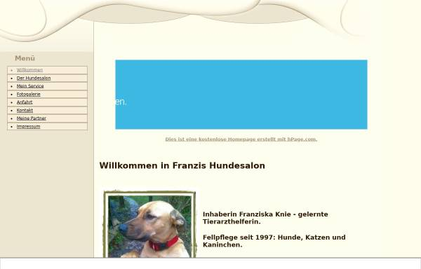 Vorschau von www.franzis-hundesalon.npage.de, Franzis Hundesalon