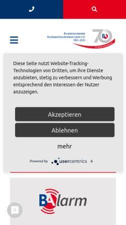 Vorschau der mobilen Webseite www.baberlin.de, BA, Bundesverband Automatenunternehmer e.V.