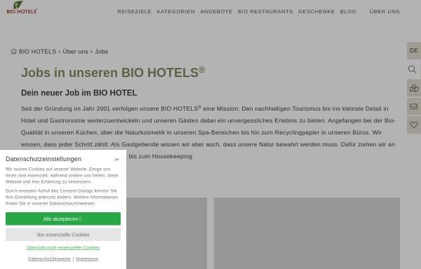 Vorschau von www.biohotels.info, Biohotels Jobbörse