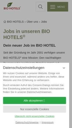 Vorschau der mobilen Webseite www.biohotels.info, Biohotels Jobbörse