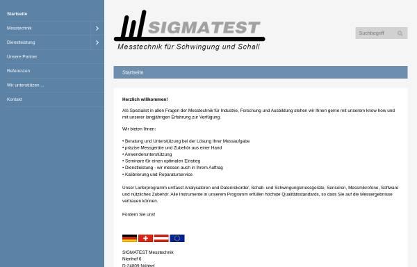 Vorschau von www.sigmatest.net, Sigmatest Messtechnik